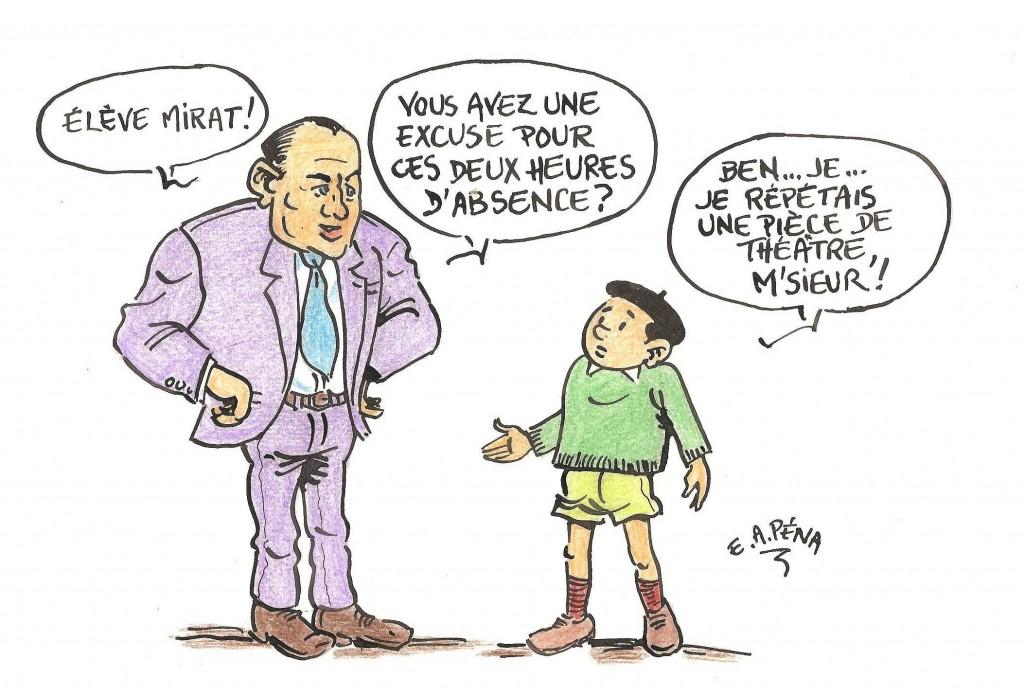 Dessin d'Emile Pena lors de l'inauguration Espace Jean VAYSSIE et Salle Pierre MIRAT